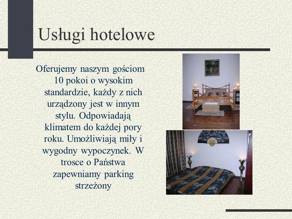 Usługi hotelowe Oferujemy naszym gościom 10 pokoi o wysokim standardzie, każdy z nich urządzony jest w innym stylu.