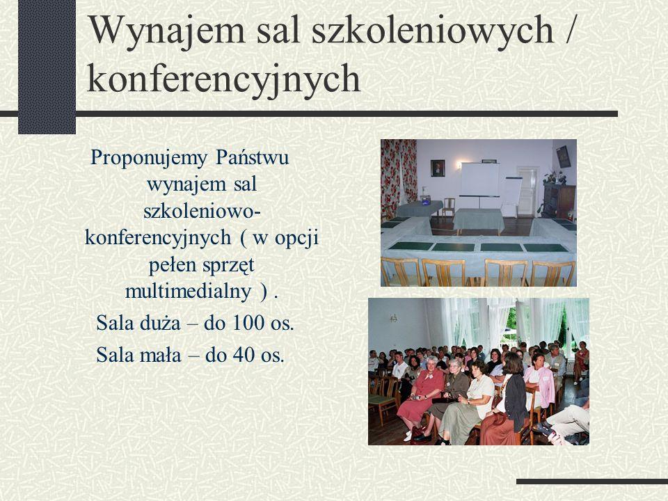 Wynajem sal szkoleniowych / konferencyjnych Proponujemy Państwu wynajem sal szkoleniowo- konferencyjnych ( w opcji pełen sprzęt multimedialny ).