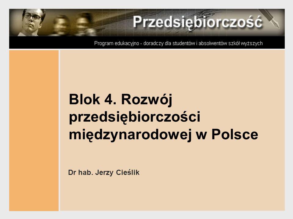 Blok 4. Rozwój przedsiębiorczości międzynarodowej w Polsce Dr hab. Jerzy Cieślik