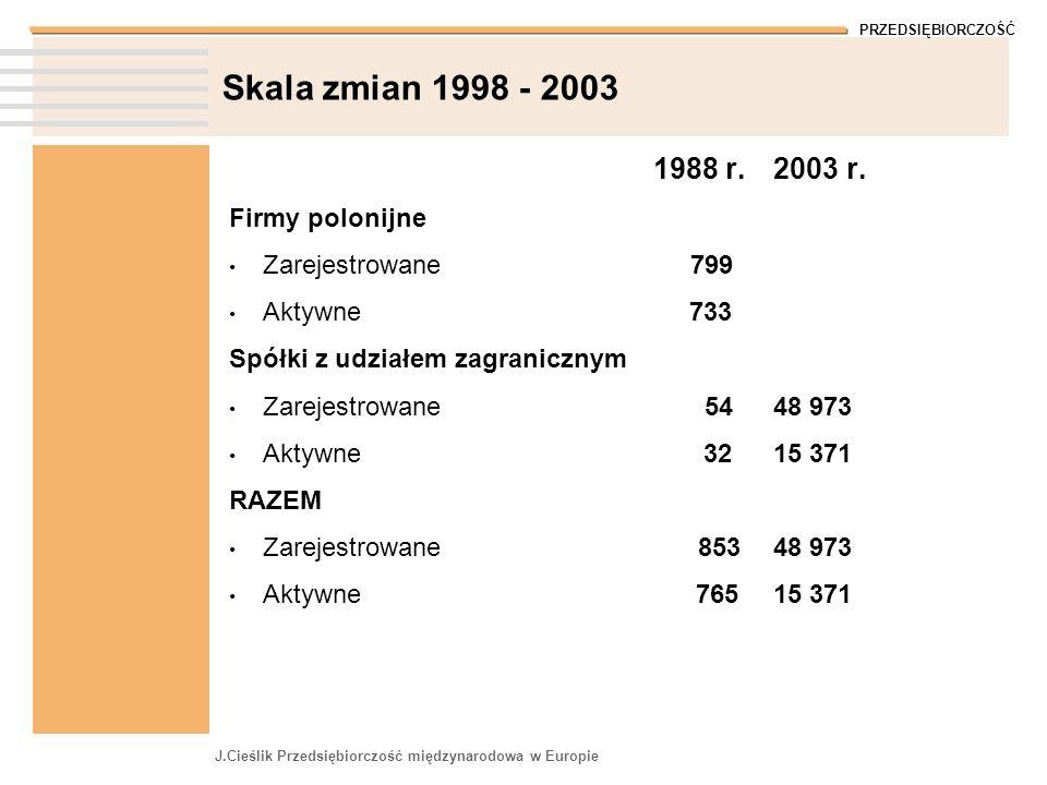 PRZEDSIĘBIORCZOŚĆ J.Cieślik Przedsiębiorczość międzynarodowa w Europie Skala zmian 1998 - 2003 1988 r. Firmy polonijne Zarejestrowane 799 Aktywne 733