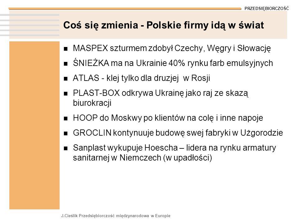 PRZEDSIĘBIORCZOŚĆ J.Cieślik Przedsiębiorczość międzynarodowa w Europie Coś się zmienia - Polskie firmy idą w świat MASPEX szturmem zdobył Czechy, Węgr