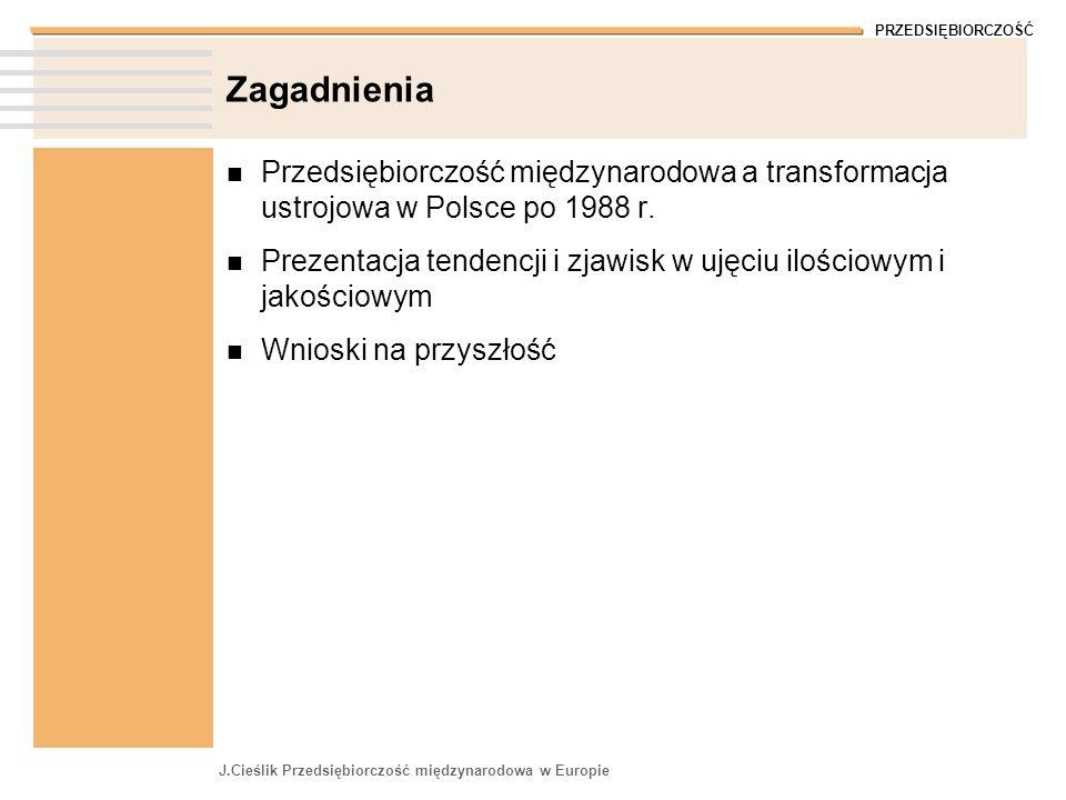 PRZEDSIĘBIORCZOŚĆ J.Cieślik Przedsiębiorczość międzynarodowa w Europie Zagadnienia Przedsiębiorczość międzynarodowa a transformacja ustrojowa w Polsce