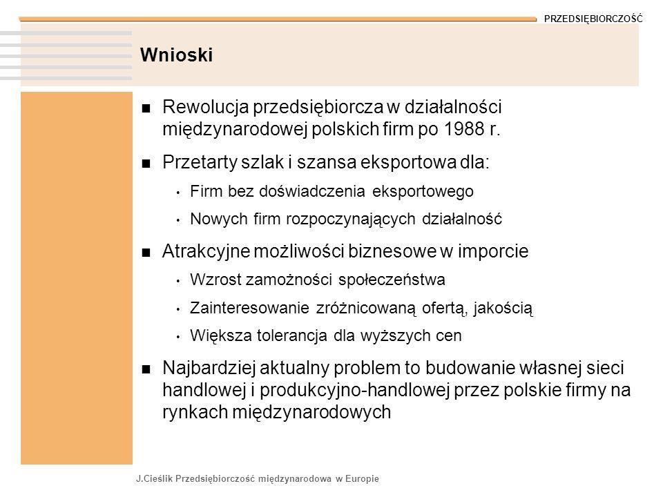 PRZEDSIĘBIORCZOŚĆ J.Cieślik Przedsiębiorczość międzynarodowa w Europie Wnioski Rewolucja przedsiębiorcza w działalności międzynarodowej polskich firm