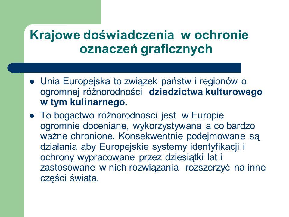Krajowe doświadczenia w ochronie oznaczeń graficznych Unia Europejska to związek państw i regionów o ogromnej różnorodności dziedzictwa kulturowego w