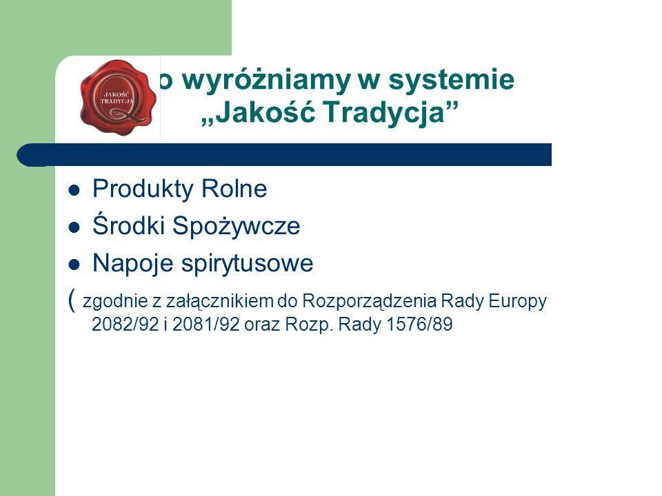 Co wyróżniamy w systemie Jakość Tradycja Produkty Rolne Środki Spożywcze Napoje spirytusowe ( zgodnie z załącznikiem do Rozporządzenia Rady Europy 208
