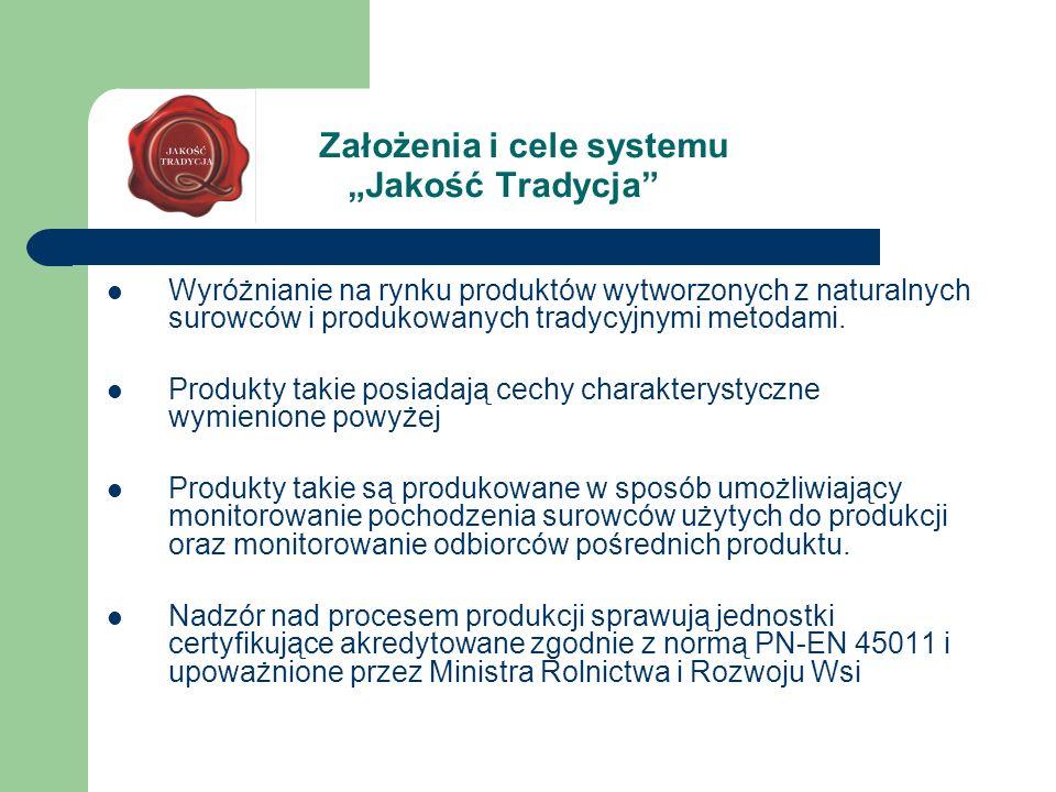 Założenia i cele systemu Jakość Tradycja Wyróżnianie na rynku produktów wytworzonych z naturalnych surowców i produkowanych tradycyjnymi metodami. Pro