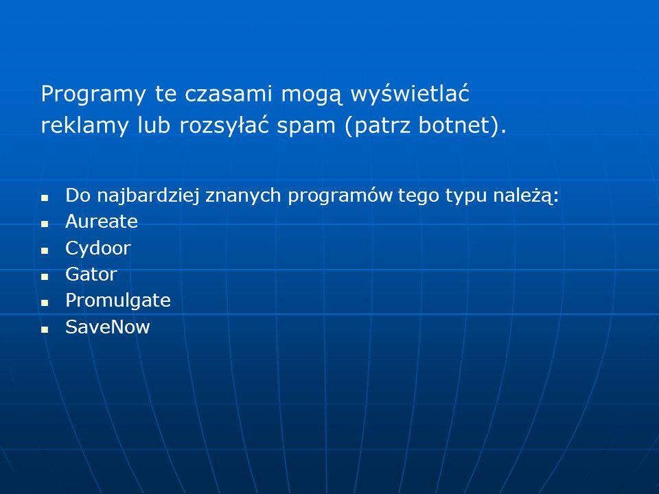 Programy te czasami mogą wyświetlać reklamy lub rozsyłać spam (patrz botnet). Do najbardziej znanych programów tego typu należą: Aureate Cydoor Gator