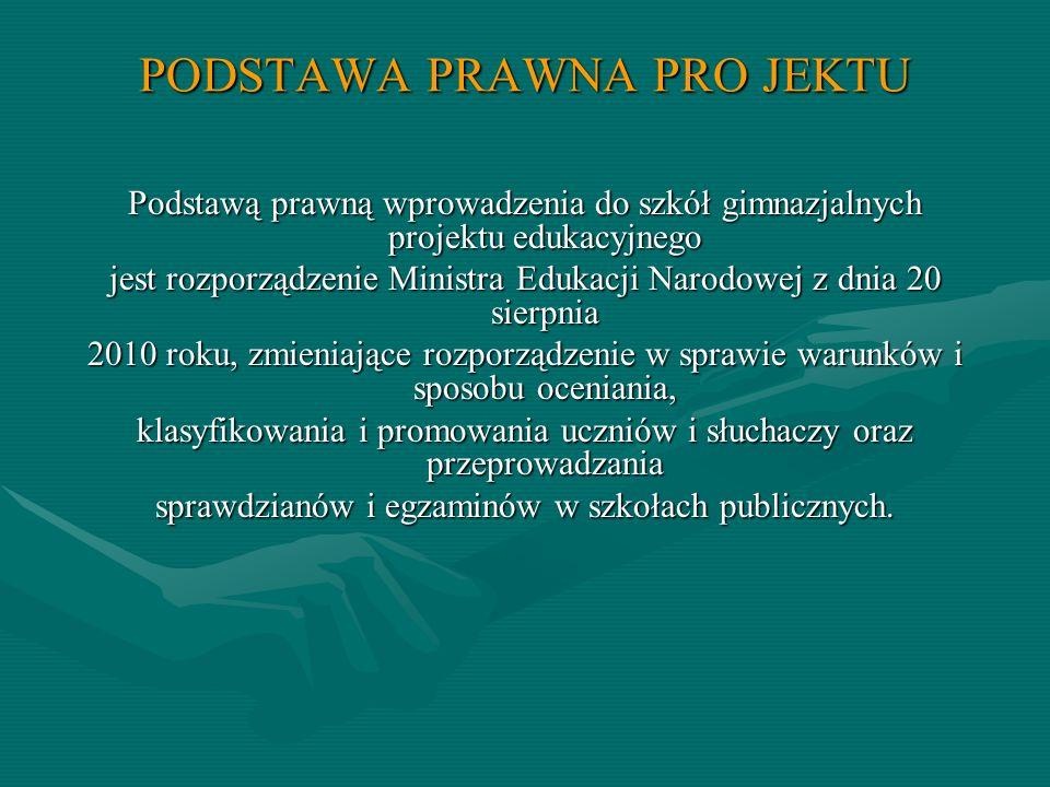 PODSTAWA PRAWNA PRO JEKTU Podstawą prawną wprowadzenia do szkół gimnazjalnych projektu edukacyjnego jest rozporządzenie Ministra Edukacji Narodowej z