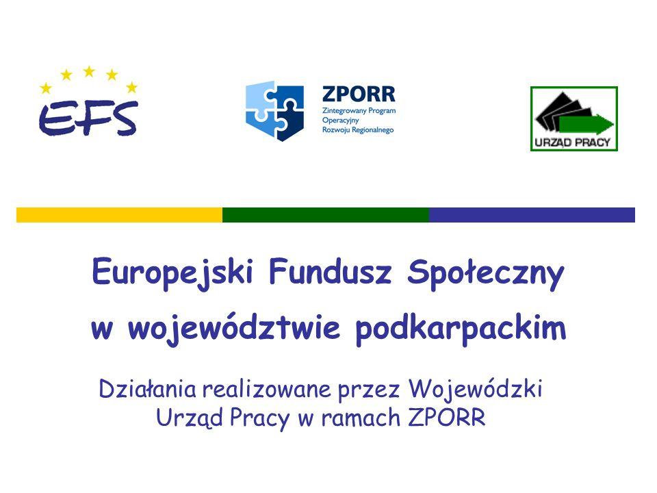 Europejski Fundusz Społeczny w województwie podkarpackim Działania realizowane przez Wojewódzki Urząd Pracy w ramach ZPORR