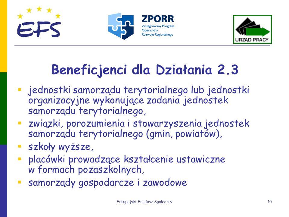 Europejski Fundusz Społeczny10 Beneficjenci dla Działania 2.3 jednostki samorządu terytorialnego lub jednostki organizacyjne wykonujące zadania jednos