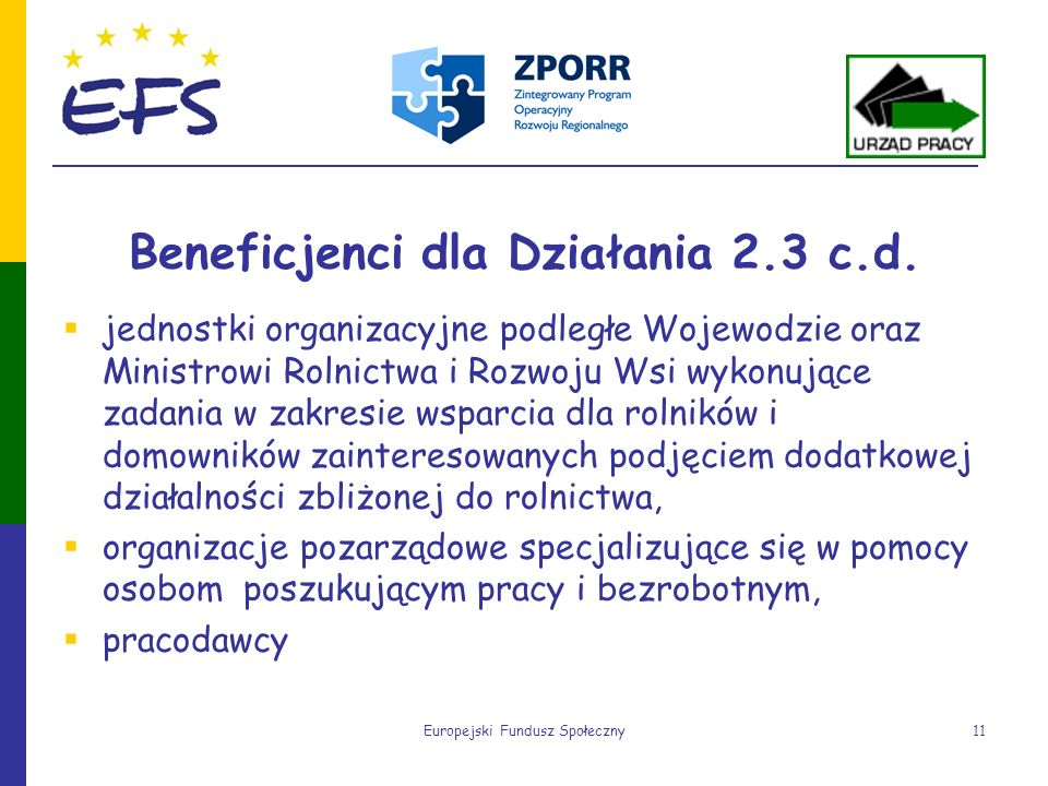 Europejski Fundusz Społeczny11 Beneficjenci dla Działania 2.3 c.d. jednostki organizacyjne podległe Wojewodzie oraz Ministrowi Rolnictwa i Rozwoju Wsi