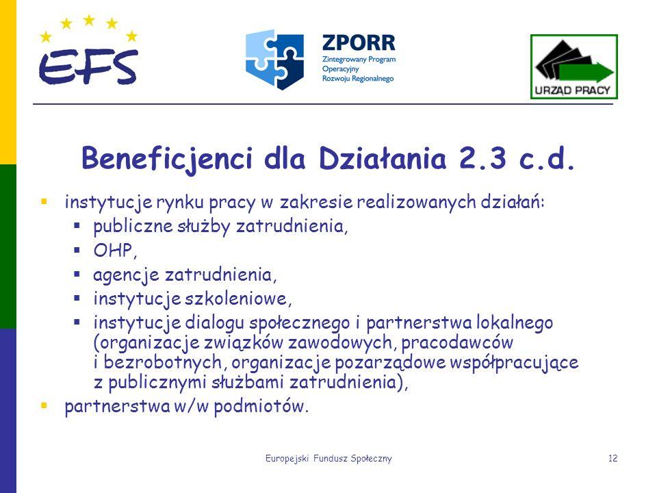Europejski Fundusz Społeczny12 Beneficjenci dla Działania 2.3 c.d. instytucje rynku pracy w zakresie realizowanych działań: publiczne służby zatrudnie