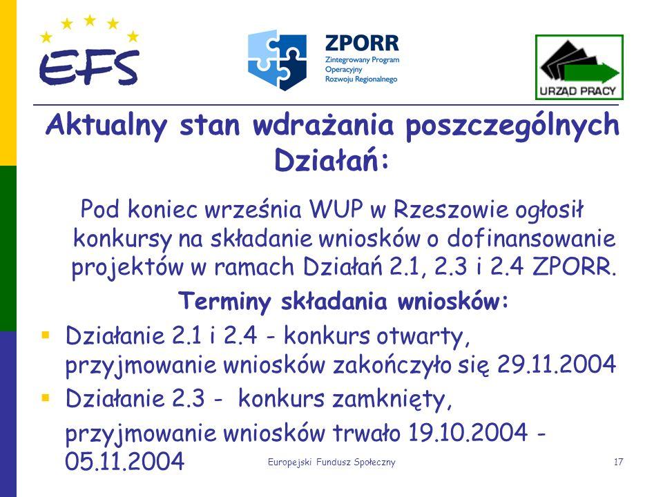 Europejski Fundusz Społeczny17 Aktualny stan wdrażania poszczególnych Działań: Pod koniec września WUP w Rzeszowie ogłosił konkursy na składanie wnios