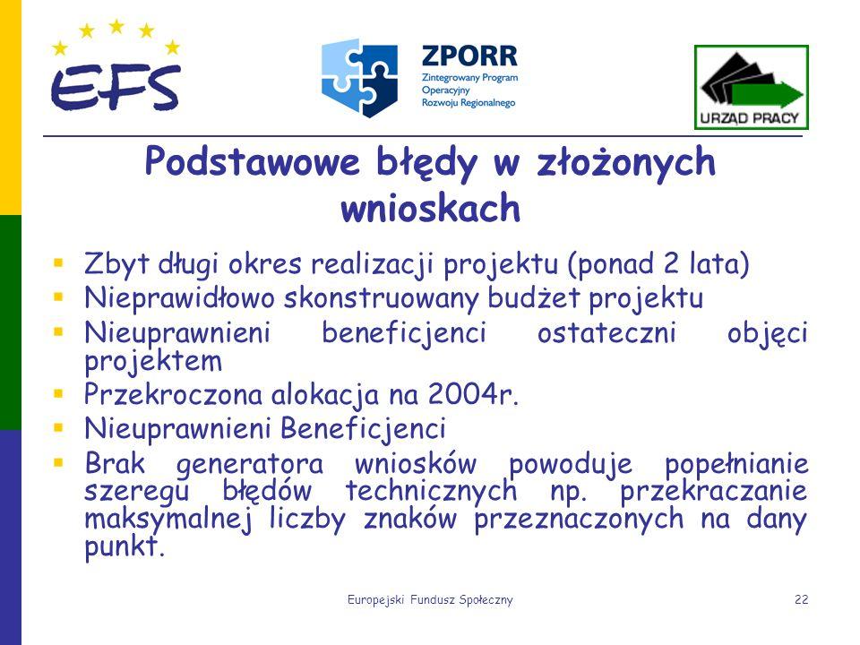 Europejski Fundusz Społeczny22 Podstawowe błędy w złożonych wnioskach Zbyt długi okres realizacji projektu (ponad 2 lata) Nieprawidłowo skonstruowany