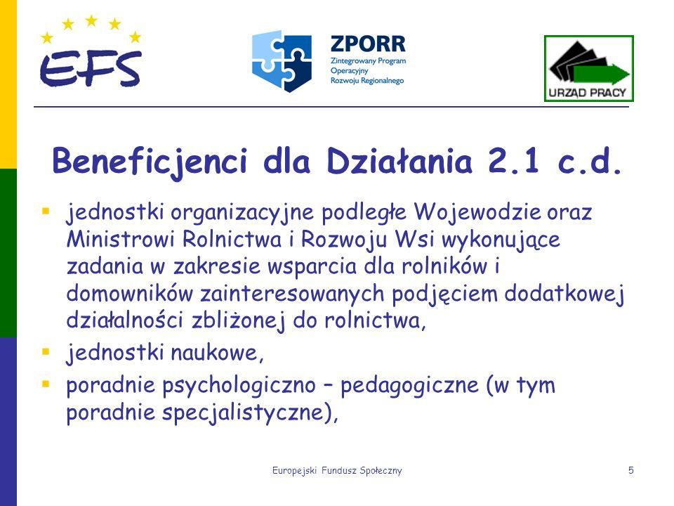 Europejski Fundusz Społeczny5 Beneficjenci dla Działania 2.1 c.d. jednostki organizacyjne podległe Wojewodzie oraz Ministrowi Rolnictwa i Rozwoju Wsi