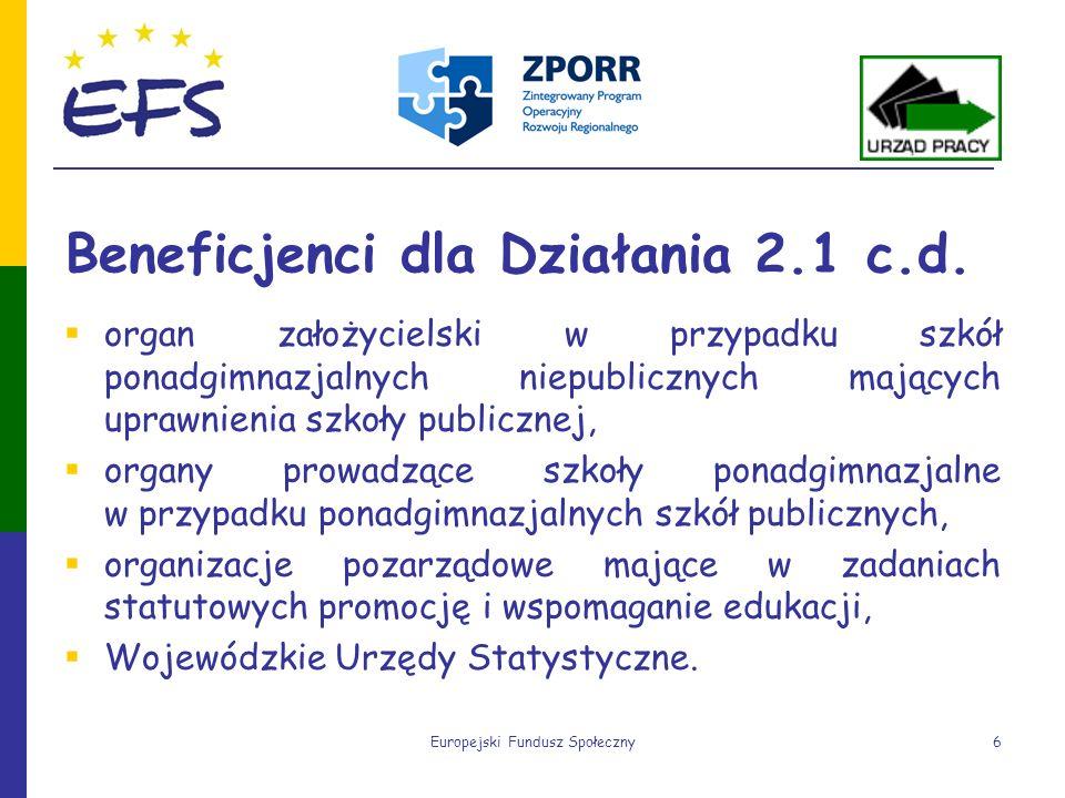 Europejski Fundusz Społeczny6 Beneficjenci dla Działania 2.1 c.d. organ założycielski w przypadku szkół ponadgimnazjalnych niepublicznych mających upr
