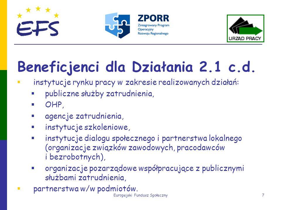 Europejski Fundusz Społeczny7 Beneficjenci dla Działania 2.1 c.d. instytucje rynku pracy w zakresie realizowanych działań: publiczne służby zatrudnien