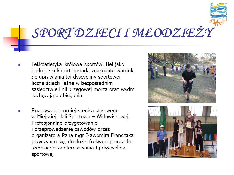 SPORT DZIECI I MŁODZIEŻY Lekkoatletyka królowa sportów. Hel jako nadmorski kurort posiada znakomite warunki do uprawiania tej dyscypliny sportowej, li