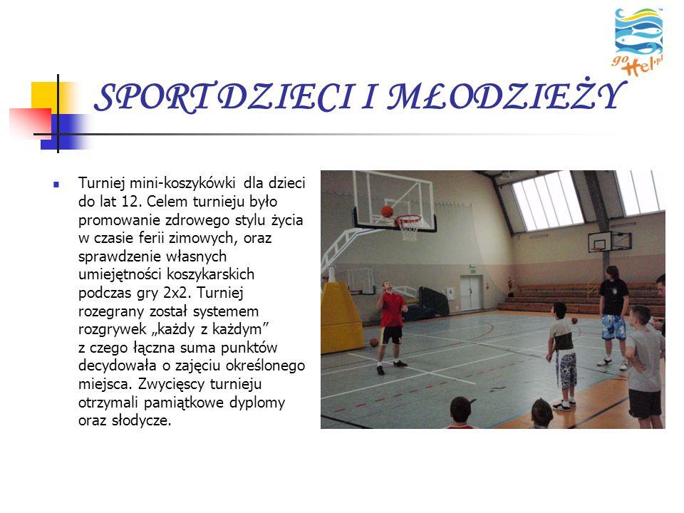SPORT DZIECI I MŁODZIEŻY Turniej mini-koszykówki dla dzieci do lat 12. Celem turnieju było promowanie zdrowego stylu życia w czasie ferii zimowych, or