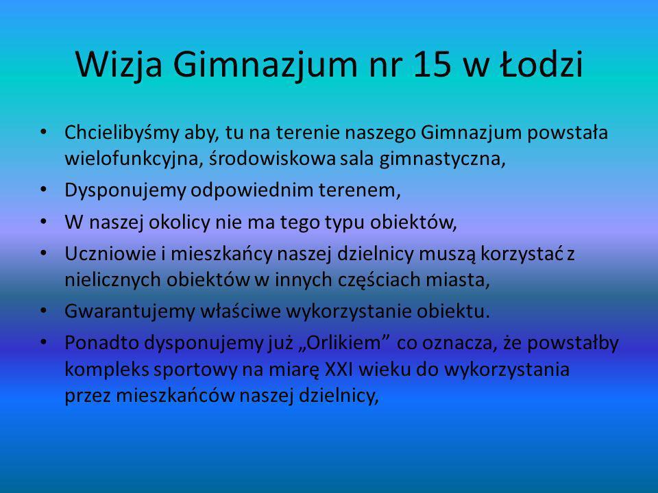 Wizja Gimnazjum nr 15 w Łodzi Chcielibyśmy aby, tu na terenie naszego Gimnazjum powstała wielofunkcyjna, środowiskowa sala gimnastyczna, Dysponujemy o