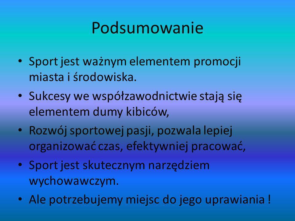 Podsumowanie Sport jest ważnym elementem promocji miasta i środowiska. Sukcesy we współzawodnictwie stają się elementem dumy kibiców, Rozwój sportowej