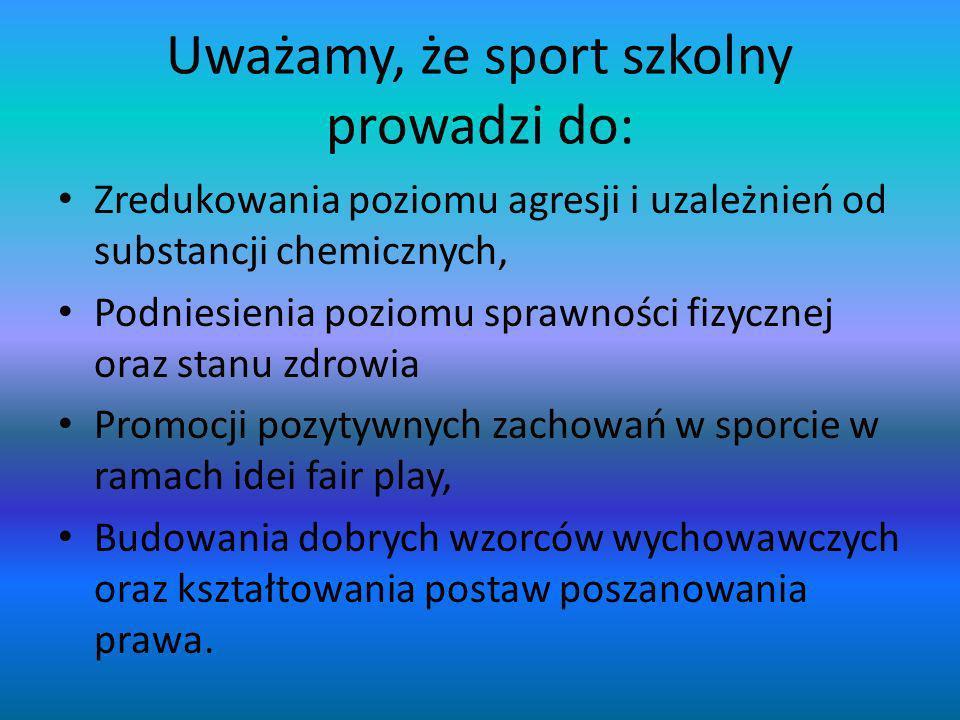 Uważamy, że sport szkolny prowadzi do: Zredukowania poziomu agresji i uzależnień od substancji chemicznych, Podniesienia poziomu sprawności fizycznej