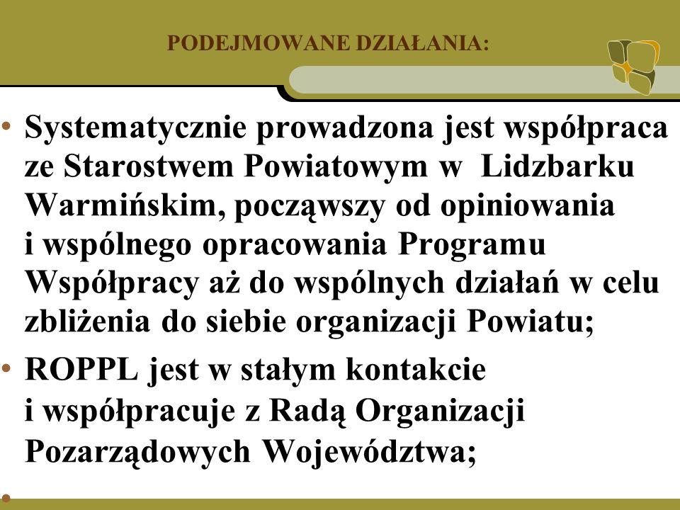 PODEJMOWANE DZIAŁANIA: Systematycznie prowadzona jest współpraca ze Starostwem Powiatowym w Lidzbarku Warmińskim, począwszy od opiniowania i wspólnego opracowania Programu Współpracy aż do wspólnych działań w celu zbliżenia do siebie organizacji Powiatu; ROPPL jest w stałym kontakcie i współpracuje z Radą Organizacji Pozarządowych Województwa;