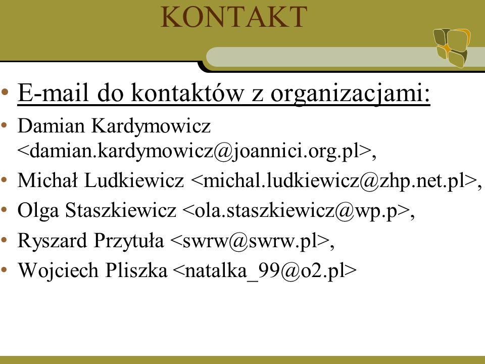KONTAKT E-mail do kontaktów z organizacjami: Damian Kardymowicz, Michał Ludkiewicz, Olga Staszkiewicz, Ryszard Przytuła, Wojciech Pliszka