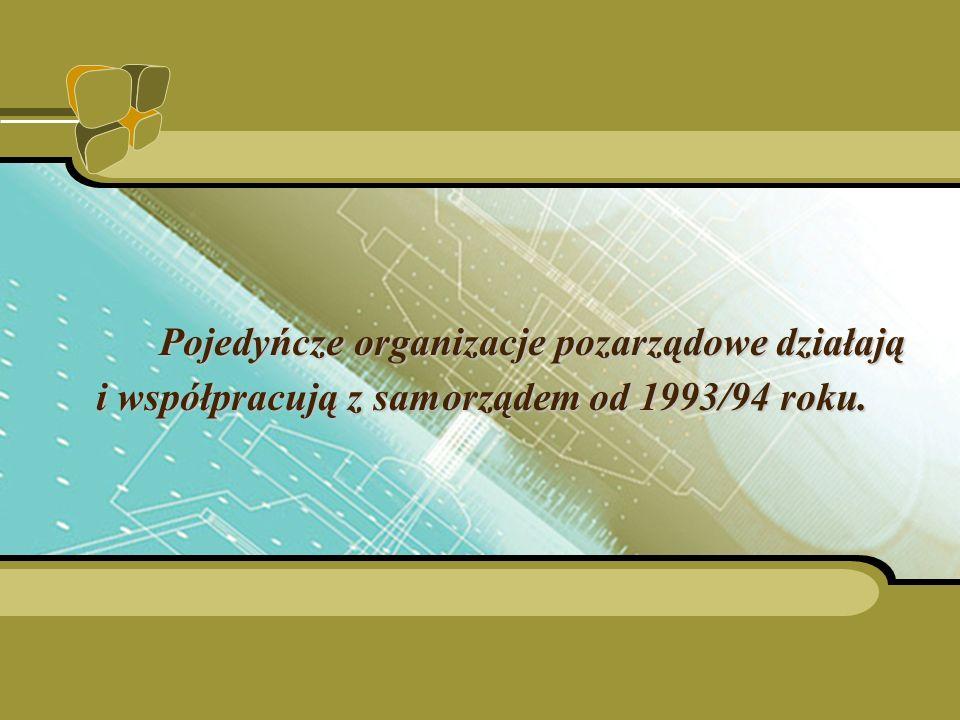 Pojedyńcze organizacje pozarządowe działają i współpracują z samorządem od 1993/94 roku.
