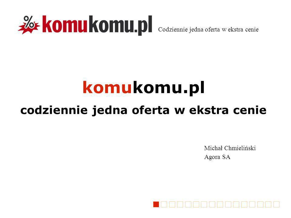 komukomu.pl codziennie jedna oferta w ekstra cenie Michał Chmieliński Agora SA Codziennie jedna oferta w ekstra cenie