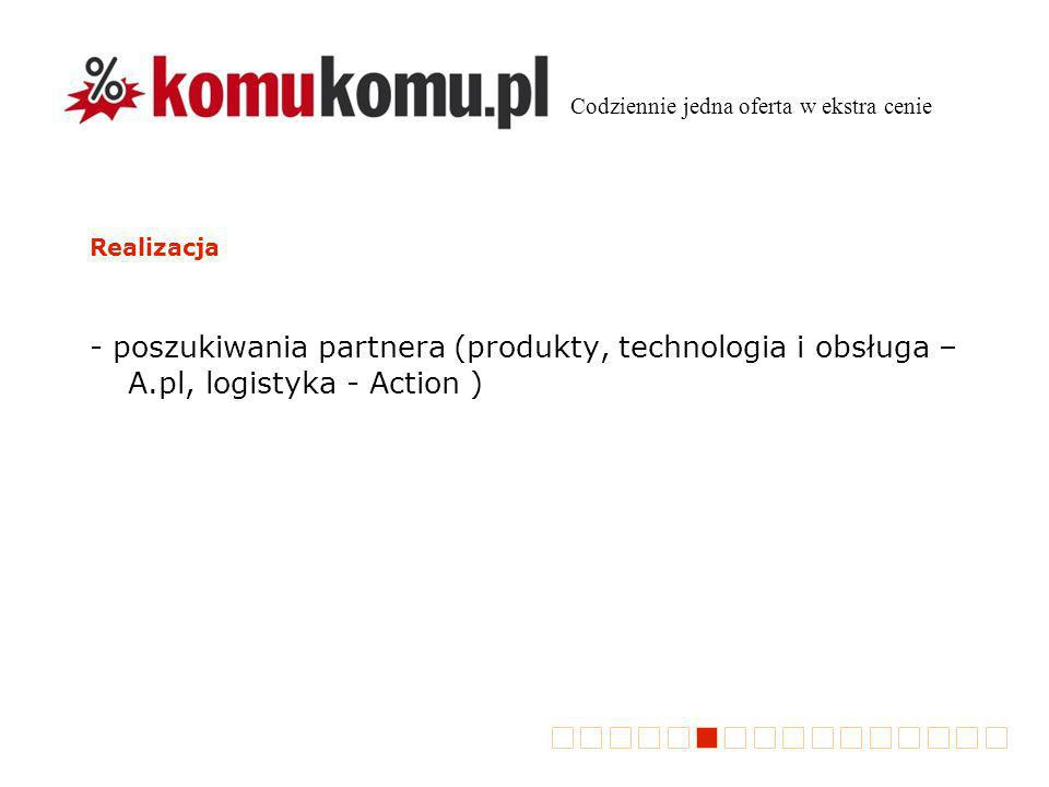Realizacja - poszukiwania partnera (produkty, technologia i obsługa – A.pl, logistyka - Action ) Codziennie jedna oferta w ekstra cenie