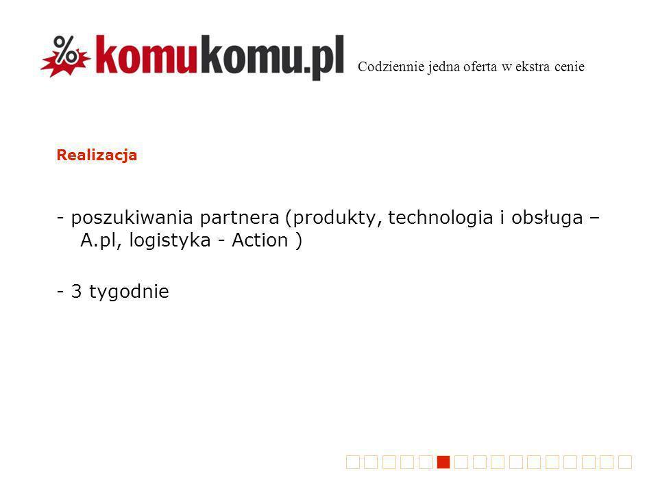 Realizacja - poszukiwania partnera (produkty, technologia i obsługa – A.pl, logistyka - Action ) - 3 tygodnie Codziennie jedna oferta w ekstra cenie