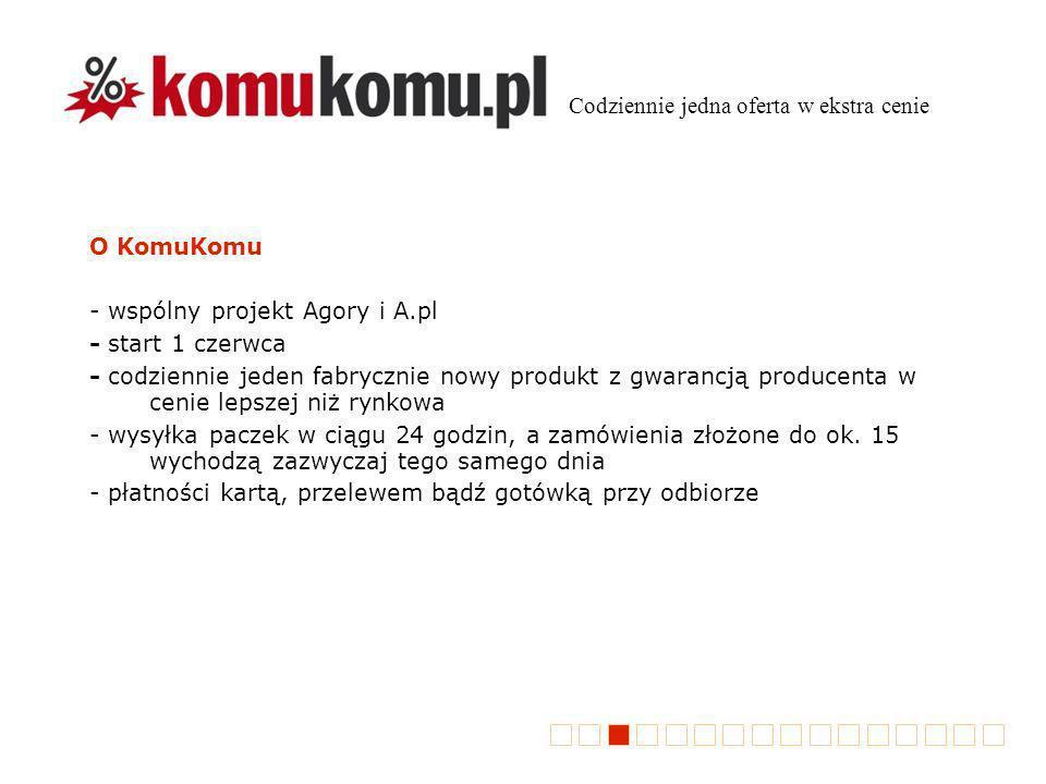 O KomuKomu - wspólny projekt Agory i A.pl - start 1 czerwca - codziennie jeden fabrycznie nowy produkt z gwarancją producenta w cenie lepszej niż rynkowa - wysyłka paczek w ciągu 24 godzin, a zamówienia złożone do ok.