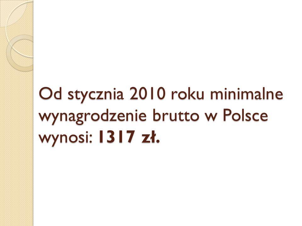 Od stycznia 2010 roku minimalne wynagrodzenie brutto w Polsce wynosi: 1317 zł.