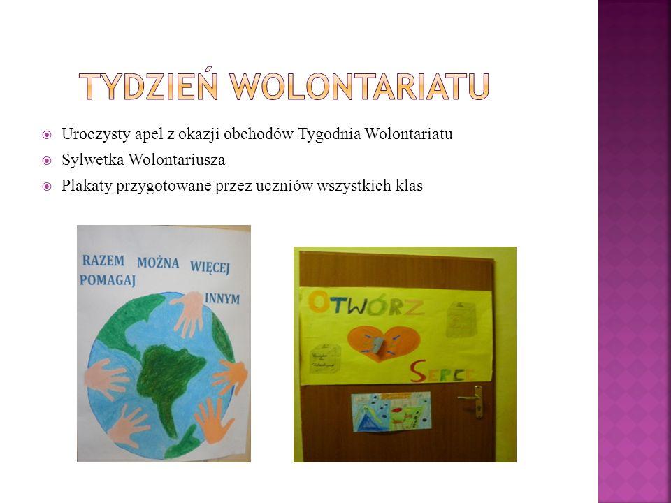 Uroczysty apel z okazji obchodów Tygodnia Wolontariatu Sylwetka Wolontariusza Plakaty przygotowane przez uczniów wszystkich klas