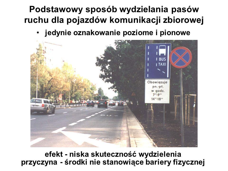 Podstawowy sposób wydzielania pasów ruchu dla pojazdów komunikacji zbiorowej efekt - niska skuteczność wydzielenia przyczyna - środki nie stanowiące b