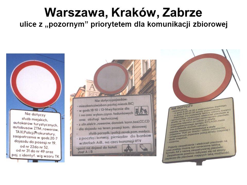 Warszawa, Kraków, Zabrze ulice z pozornym priorytetem dla komunikacji zbiorowej