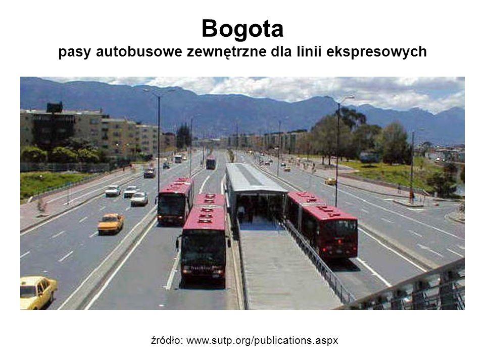 Bogota pasy autobusowe zewnętrzne dla linii ekspresowych źródło: www.sutp.org/publications.aspx