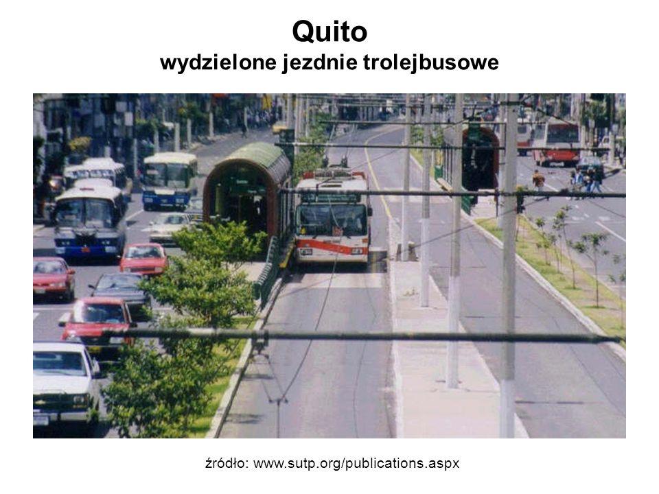 Quito wydzielone jezdnie trolejbusowe źródło: www.sutp.org/publications.aspx