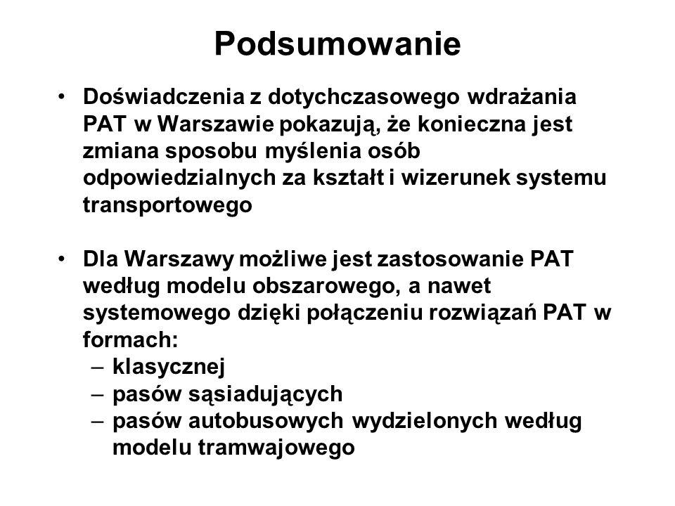 Podsumowanie Doświadczenia z dotychczasowego wdrażania PAT w Warszawie pokazują, że konieczna jest zmiana sposobu myślenia osób odpowiedzialnych za ks