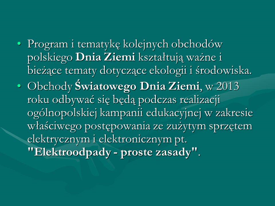 Program i tematykę kolejnych obchodów polskiego Dnia Ziemi kształtują ważne i bieżące tematy dotyczące ekologii i środowiska.Program i tematykę kolejn