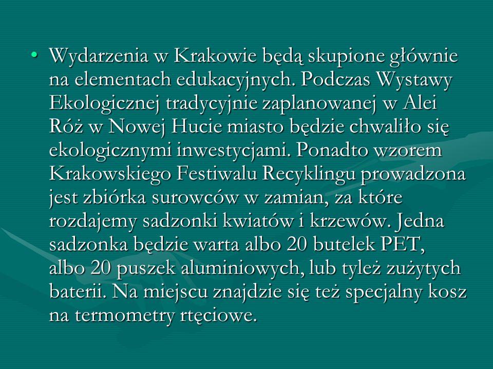 Wydarzenia w Krakowie będą skupione głównie na elementach edukacyjnych. Podczas Wystawy Ekologicznej tradycyjnie zaplanowanej w Alei Róż w Nowej Hucie
