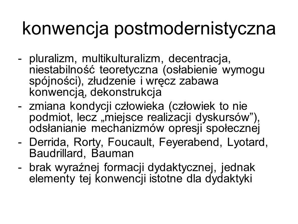 konwencja postmodernistyczna -pluralizm, multikulturalizm, decentracja, niestabilność teoretyczna (osłabienie wymogu spójności), złudzenie i wręcz zab