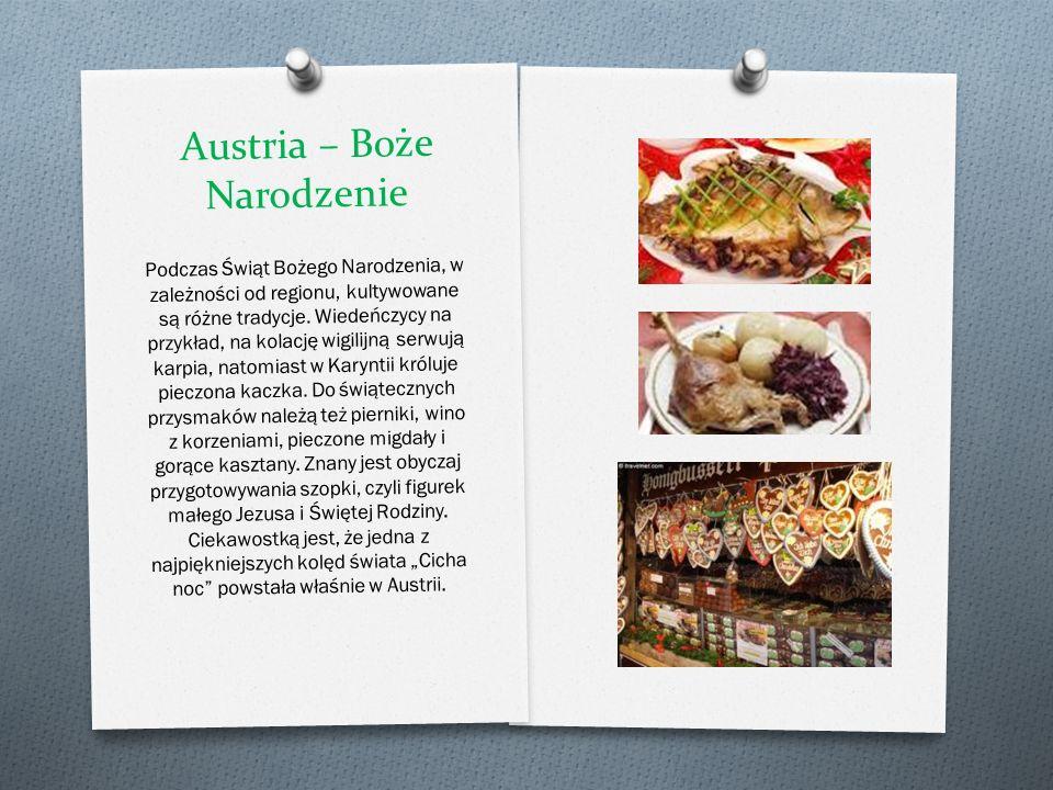 Austria – Boże Narodzenie Podczas Ś wi ą t Bo ż ego Narodzenia, w zale ż no ś ci od regionu, kultywowane s ą ró ż ne tradycje. Wiede ń czycy na przykł