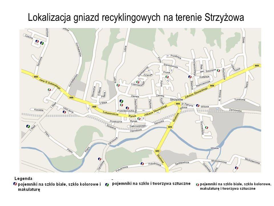 Lokalizacja gniazd recyklingowych na terenie Strzyżowa