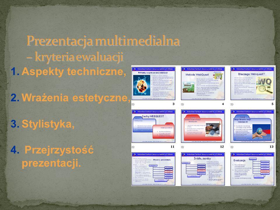1.Aspekty techniczne, 2.Wrażenia estetyczne, 3.Stylistyka, 4. Przejrzystość prezentacji.