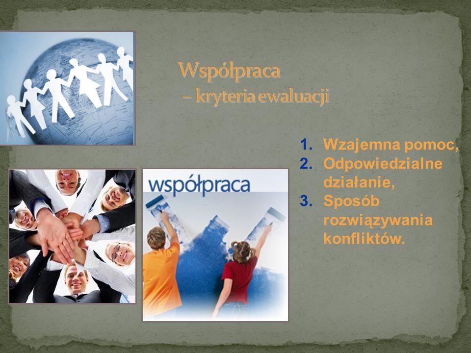 1.Wzajemna pomoc, 2.Odpowiedzialne działanie, 3.Sposób rozwiązywania konfliktów.