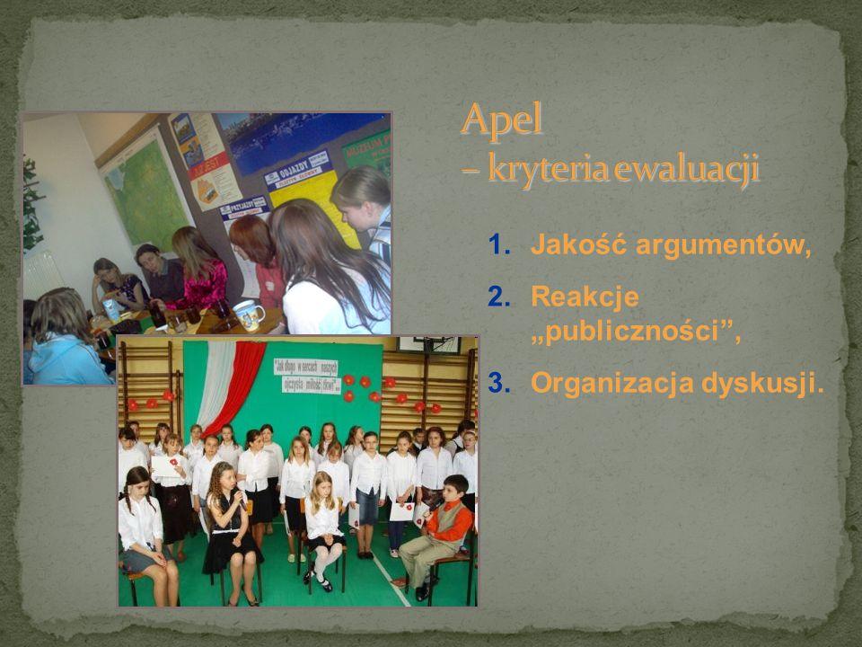 1.Jakość argumentów, 2.Reakcje publiczności, 3.Organizacja dyskusji.