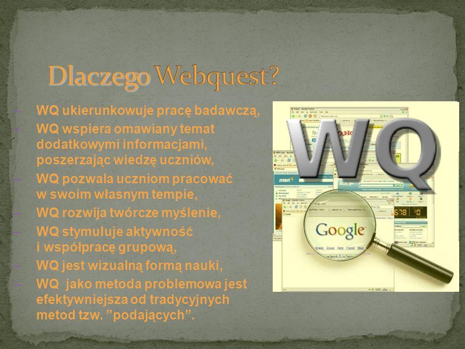 –WQ ukierunkowuje pracę badawczą, –WQ wspiera omawiany temat dodatkowymi informacjami, poszerzając wiedzę uczniów, –WQ pozwala uczniom pracować w swoi