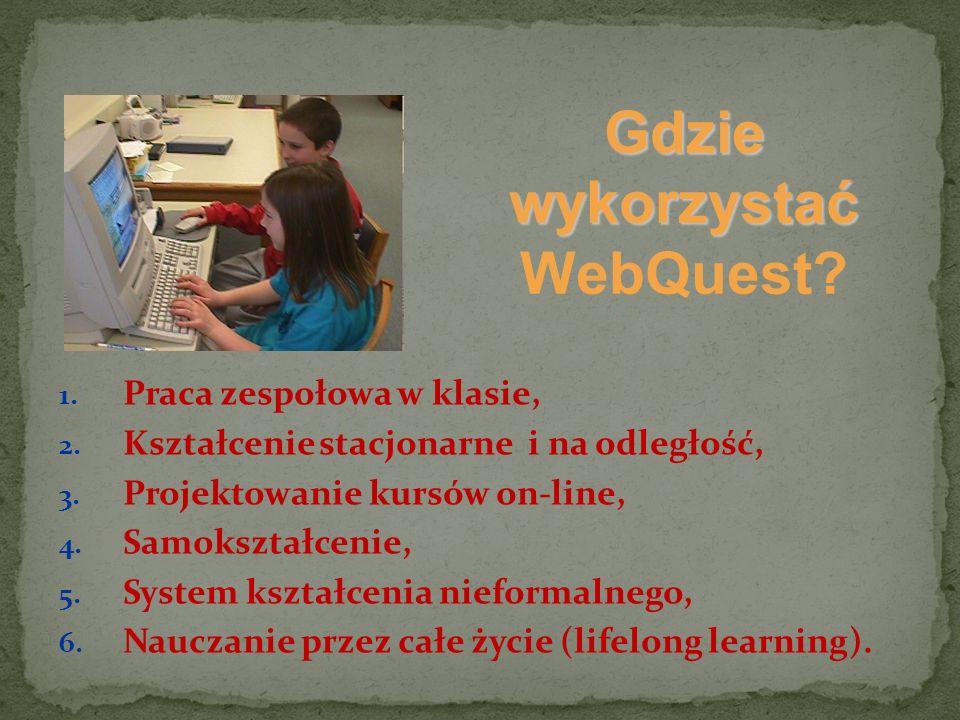 Gdzie wykorzystać Gdzie wykorzystać WebQuest? 1. Praca zespołowa w klasie, 2. Kształcenie stacjonarne i na odległość, 3. Projektowanie kursów on-line,